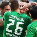 Unknown faces just weeks ago now fighting to bring Werder Bremen to Europe - Florian Hartherz, Zlatko Junuzovic and others celebrate with Niclas Füllkrug (middle) - Photo by Bongarts, Getty