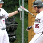 Benedict Ott (left) and Bobby Flynn combined for three hits and two RBIs but did not score a run against Munich Caribes - photo by Hubert Ott