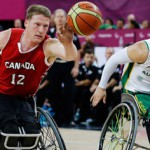 Patrick Anderson (left) dominates the game for Canada at the 2012 Paralympics - photo Lefteris Pitarakis/Associated Press