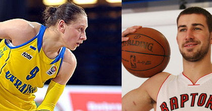 Ukrainian Alina Iagupova (left) and Jonas Valanciunas of Lithuania were selected as the FIBA Europe Young Women's and Men's Players of the Year 2012, respectively