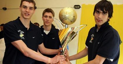 The gang is back together. Mario Hezonja, Dominik Mavra and Dario Saric (left to right) will join forces in Prague at the 2013 FIBA U19 World Championship in hopes of winning another title - like the 2011 NIJT crown with KK Zagreb.