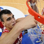 Dario Saric cuts down the nets at the 2012 U18 European Championship. Playing with good friends Mario Hezonja and Dominik Mavra, Saric hopes to win the 2013 FIBA U19 World Championship.