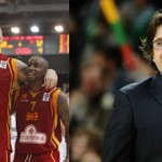 Bo McCalebb (left with Pero Antic) hopes to surprise again at EuroBasket 2013 while Andrea Trinchieri heads to Slovenia as the head coach of a talented and experienced Greece team full of winners.