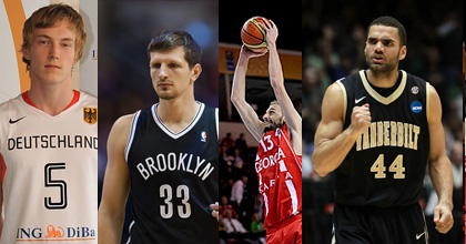 Niels Giffey, Mirza Teletovic, Viktor Sanikidze and Jeffery Taylor (from left to right) are all hoping for good results at EuroBasket 2013 - as you can hear in their interviews with Taking The Charge.
