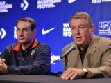USA head coach Mike Krzyzewski and USA Basketball Chairman Jerry Colangelo talk about the roster for the 2014-16 cycle. (Photo by David Dow/NBAE via Getty Images)