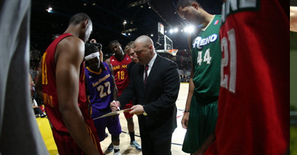Mike Taylor (middle) coaches at the D-League All Star Game.