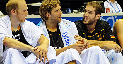 Tim Ohlbrecht (right) with Chris Kaman and Dirk Nowitzki (middle) with the German national team. Ohlbrecht is hoping to join the two stars in the NBA full time this up-coming season. Picture dpad