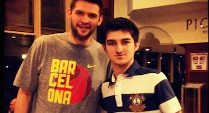 Current Houston Rockets forward Kostas Papanikolaou gets the privilege of being photographed with the great H.Can Pelister.