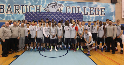 The 39 players from the Basketball Without Borders Global Camp line up for a group shot. NBA Vice President Basketball Operations Brooks Meek talked to Taking The Charge about the camp in New York City.