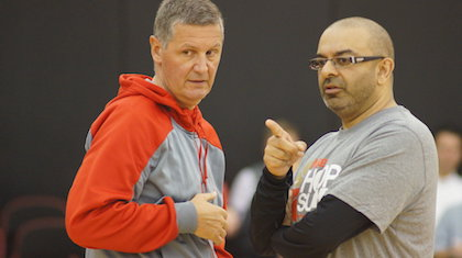 Marin Sedlacek (left) talks Nike Hoop Summit action with coach Roy Rana. Sedlacek came on Taking The Charge to talk about picking the players for the World Select Team. Photo by Tim Brown:The Oregonian
