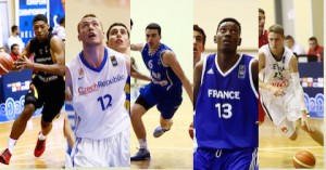 Kostja Mushidi of Germany, Czech Republic's Simon Pursl, Edon Maxhuni of Finland, France's Stephane Gombauld and Martynas Varnas of Lithuania are battling at the 2015 U18 European Championship. They also are on Taking The Charge - photos by FIBA Europe