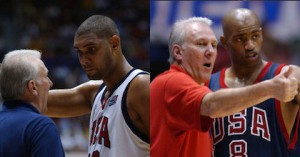 New to-be USA Basketball head coach Gregg Popovich works with Tim Duncan and Vince Carter during his previous stint with USA Basketball - photos from USA Basketball