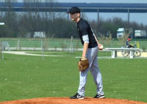 Dave Feddersen did a good job on the mound for the Laub Raiders in their first-ever games in German baseball.