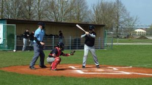 Player-manager Uli Käsewieter was the most consistent offensive weapon for the Laub Raiders in their first-ever games in German baseball.