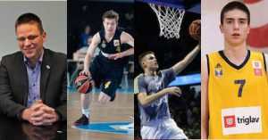 Brose Baskets Bamberg GM Rolf Beyer, Bennet Hundt from ALBA Berlin, Real Madrid's Dino Radoncic and Mega Leks' Nikola Miskovic come on Taking The Charge.
