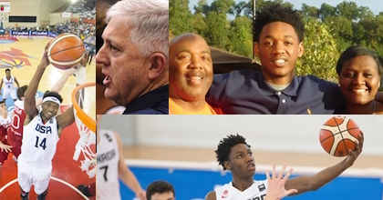 Wendell Carter Jr., Don Showalter, Austin and Vicky Wiley (center and right of group pic) and RJ Barrett talk to Taking The Charge about the 2016 FIBA U17 World Championship. Carter, Showalter and Barrett photos by FIBA