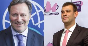 Basketball Champions League CEO Patrick Comninos and Mega Leks general manager Goran Cakic talk to Taking The Charge