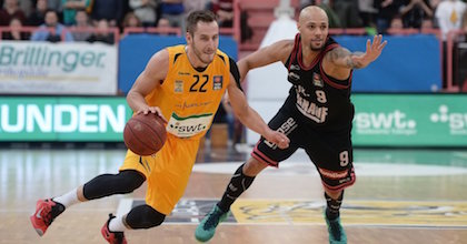 Vladimir MIhailovic (here playing for Walter Tigers Tübingen) talks to Taking The Charge about s.Oliver Würzburg, EuroBasket 2017 and young Montenegro talent. Photo from Tübingen club