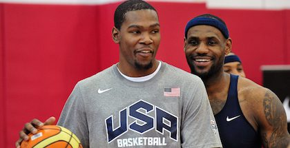 Kevin Durant and LeBron James could face off again in the NBA Finals with the Golden State Warriors and Cleveland Cavaliers, which would a historic first that two teams make the Finals three years in a row. Credit: Gary A. Vasquez-USA TODAY Sports