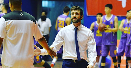 Nick Gibson working as an assistant coach with Hebei of the Chinese second division NBL