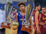 France head coach Bernard Faure, MVP Killian Hayes of France and Montenegro leader Stefan Vlahovic talk about FIBA U16 European Championship 2017.