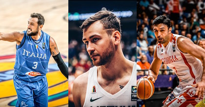 Marco Belinelli of Italy, Donatas Motiejunas of Lithuania and Georgia's Zaza Pachulia talk to Taking The Charge - photos from FIBA