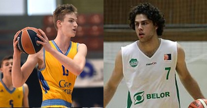 Aleksander Balcerowski of Herbalife Gran Canaria and William McDowell-White of Brose Bamberg talk to Taking The Charge