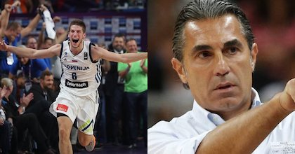 Slovenian Aleksej Nikolic of Brose Bamberg and Spanish national team head coach Sergio Scariolo talk to Taking The Charge.