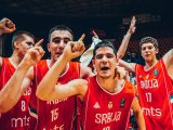 Filip Petrusev (left No. 8) and Marko Pecarski (No. 15) celebrate winning the FIBA U18 European Championship 2017. Can their bond maybe lead them to playing together for Gonzaga? Photo: FIBA
