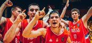 Filip Petrusev (left No. 8) and Marko Pecarski (No. 15) celebrate winning the FIBA U18 European Championship 2017. Can their bond maybe lead them to playing together for Gonzaga? Photo: FIBA